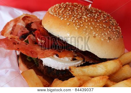 Gourmet Burger With Delicious Meat And Goat Cheese