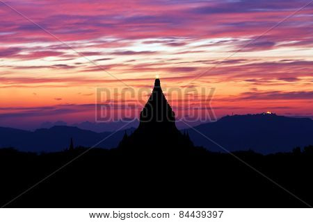 Silhouette Of Ancient Pagoda At Sunset In Bagan, Myanmar