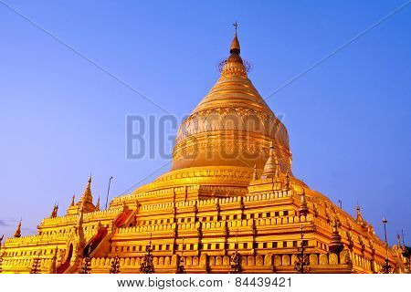 Golden Shwezigon Pagoda At Sunrise In Bagan Archaeological Zone, Myanmar