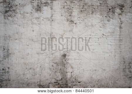 White grey old vintage cement street rusty grunge aged rough brick wall texture background.