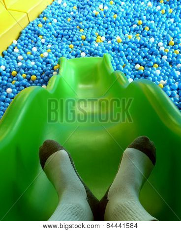 Slide To Plastic Ball Pond.
