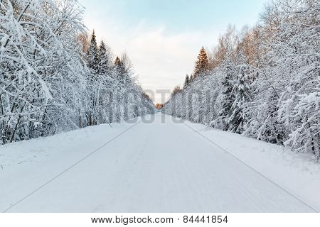 Winter Landscape Snow-covered Road