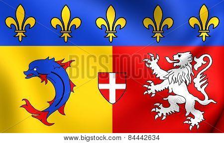 Flag Of Rhone-Alpes, France.