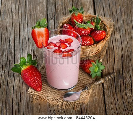 Yogurt With Fresh Strawberries In A Glass