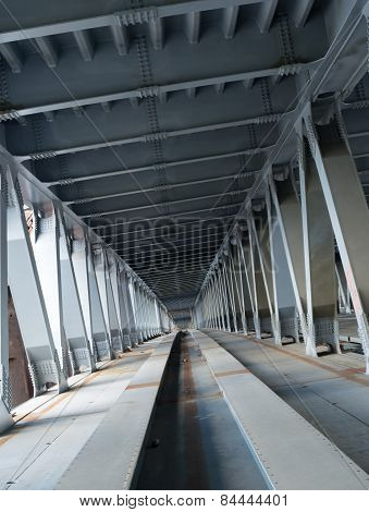 Bridge Construction. Metal Framework Of The Bridge