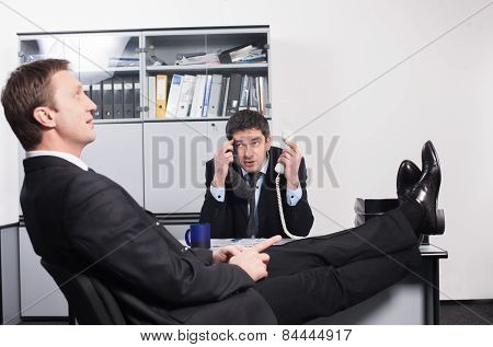 Worker on interview