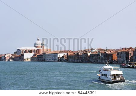 Civil Passenger Boat At The Channel  In Summer Venice