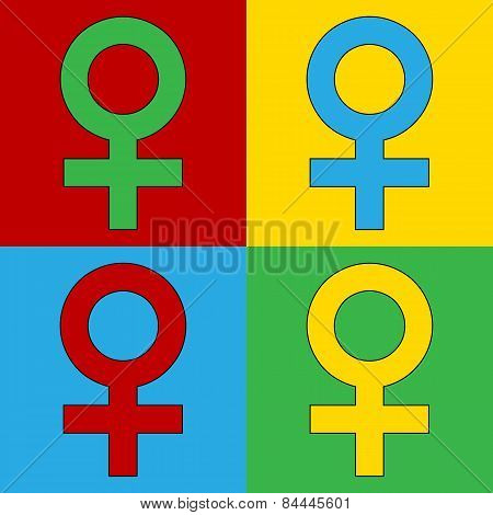 Pop Art Gender Female Symbol Icons.