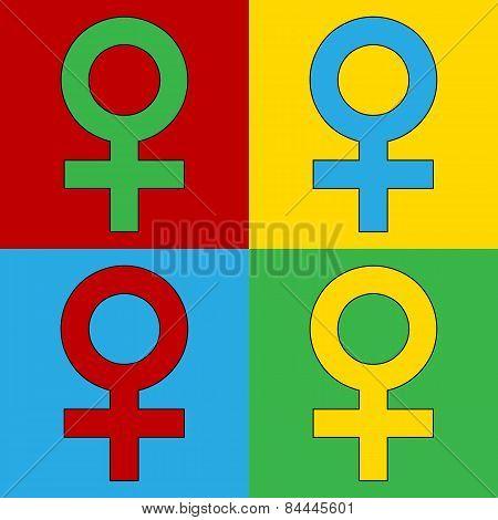 Pop Art Gender Female Symbol Icons.