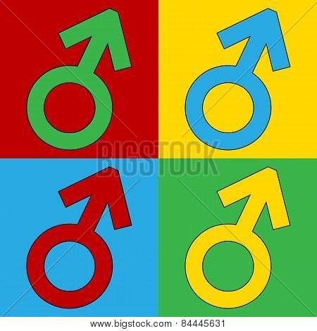 Gender Male Symbol Button.