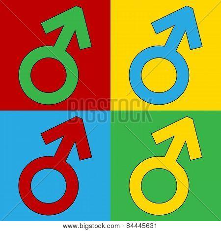 Gender Male Symbol Button.