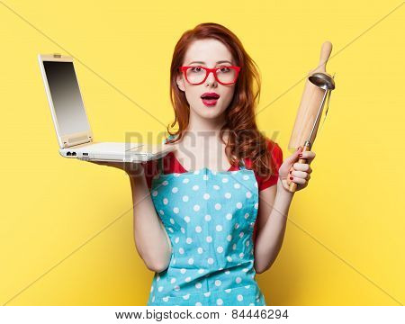 Housewife With Computer And Plunger
