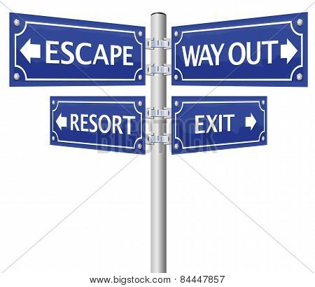 Exit Escape Way Out Street Sign