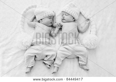Twins Wearing Funny Hats