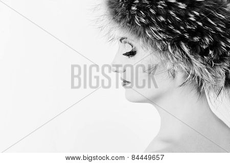 Woman Is Wearing Fur Hat
