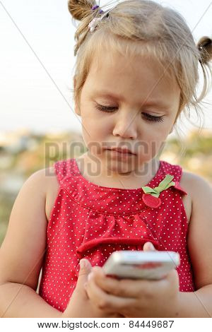 Toddler Girl Playing Smartphone