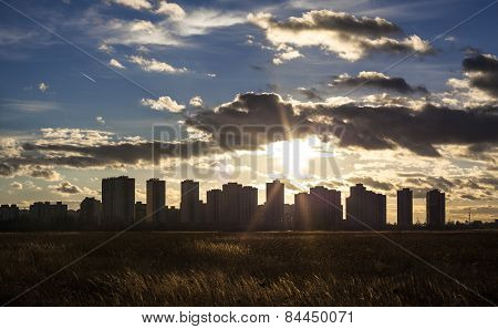 Urban Landscape. Silhouettes Of Kyiv High-rise Buildings