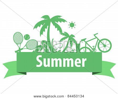 Summer vacation. Sports and beach accessories. Vector illustration