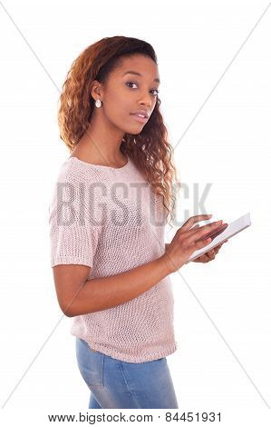 African American Woman Using A Tactile Tablet