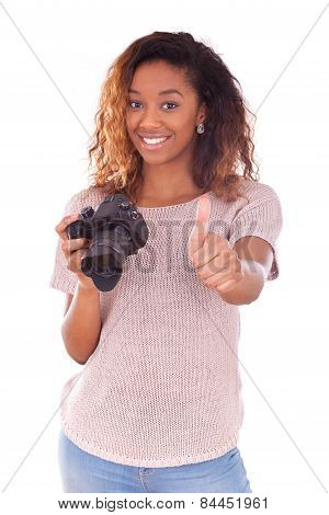 African American Photographer Holding A Dslr Camera Making Thumbs Up Gesture