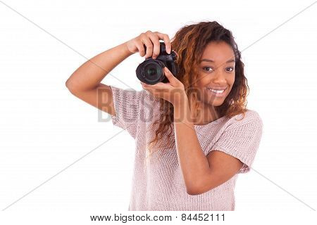African American Photographer Taking Pictures With A Dslr Camera