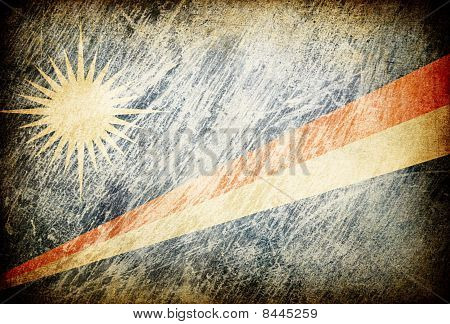 Grunge Rubbed Flag Series Of Backgrounds. Marshall Islands.
