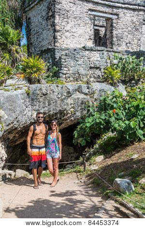 Couple In Love  Traveling Tulum Mayan Ruins, Caribbean, Quintana Roo, Beautiful Mexico.