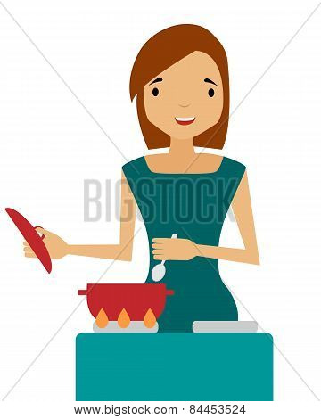 A woman prepares. Housewife holding a spoon over a saucepan. Vector illustration