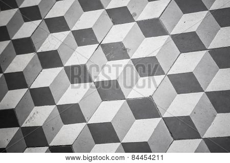 Old Black And White Tiling On Floor, Cubic Pattern