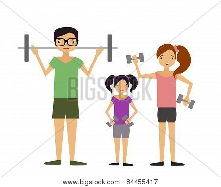 Family involved in sports. The mother and father and their child raising dumbbells. Vector illustrat