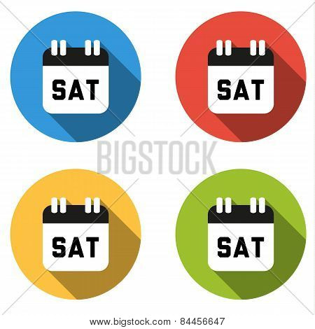 Collection Of 4 Isolated Flat Colorful Buttons For Saturday (calendar Icon)