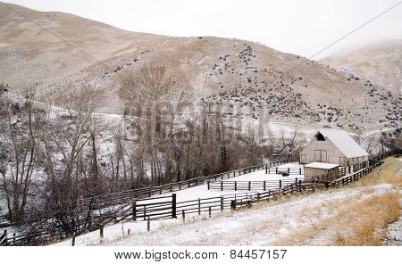Fresh Snow Blankets Hillside Rural Country Scene Forgotten Ranch