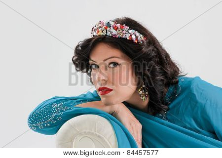 Adult arabian woman in blue abaya