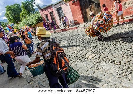 Street Sellers Following Lent Procession, Antigua, Guatemala
