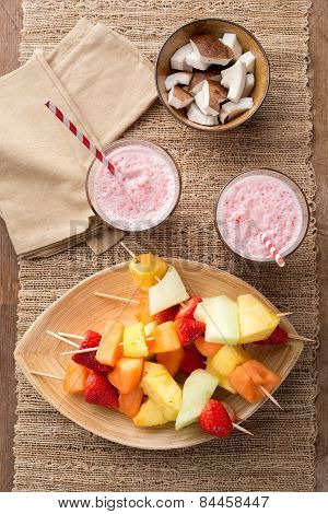 Fruit Kabobs And Strawberry Smoothies