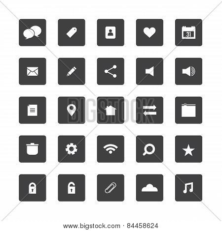 Square Website Icons Set.
