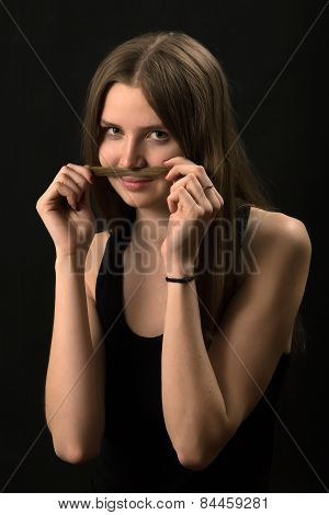 Woman Making Mustache