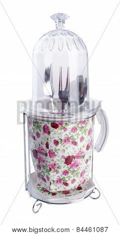 Kitchen Utensils Holder. Kitchen Utensils Holder On Background.
