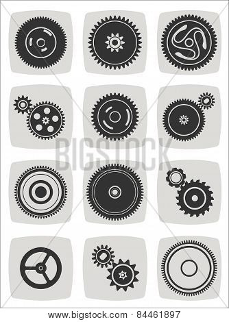 Gearwheel Mechanism Icon Set