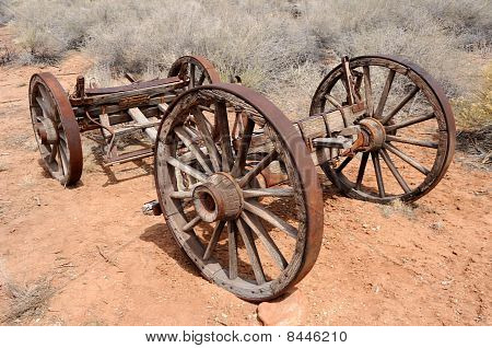 Pioneer Wagon Wheels and Wooden Frame