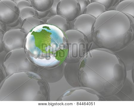 Earth And Grey Spheres