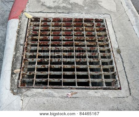 Sewer Drain On The Footpath