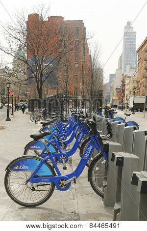 Citi bike station In Lower Manhattan