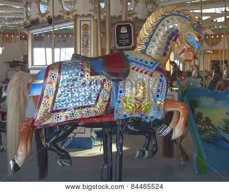Historic Marcus Illions Horse on the B&B Carousel.
