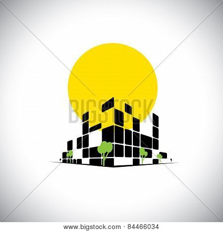 Sleek City High Rise Skyscraper And Sun In Background - Concept Vector
