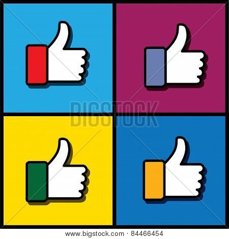 Concept Vector Graphic - Social Media Like Hand Icons Set
