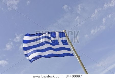 Greece, Flag, Standard and blue sky.