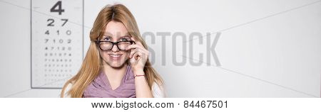 Woman In Optician's Office