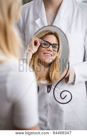 Woman Testing New Eyeglasses