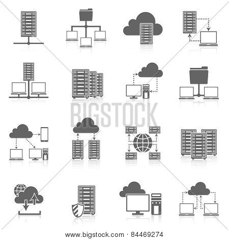 Hosting service black icons set